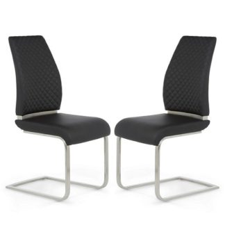 An Image of Adene Dining Chair In Black Faux Leather In A Pair