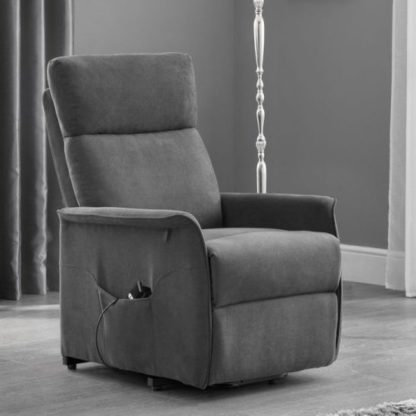 An Image of Marlow Rise and Recline Chair In Charcoal Grey Velvet