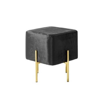 An Image of Ryman Stool In Black Velvet And Gold Plated Stainless Steel