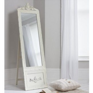 An Image of Gracie Cheval Floor Standing Vintage Mirror In Cream