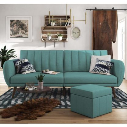 An Image of Brittany Linen Sofa Bed In Light Blue With Wooden Legs