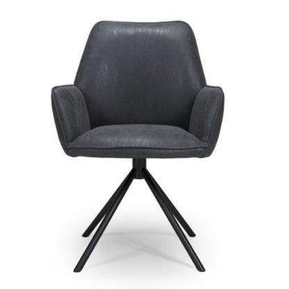 An Image of Uno PU Fabric Dining Chair In Wax Grey