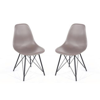 An Image of Arturo Truffle Bistro Chair In Pair With Black Metal Legs