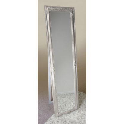 An Image of Rocco Cheval Floral Champagne Frame Freestanding Mirror