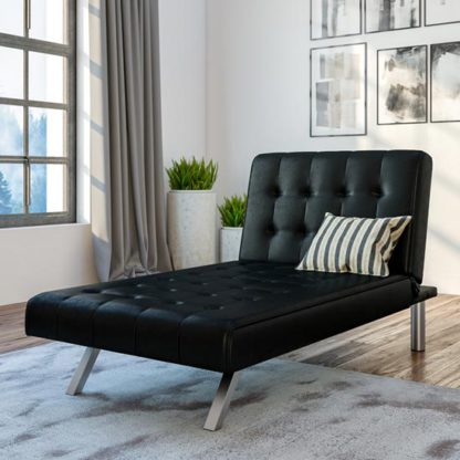 An Image of Emily Faux Leather Chaise Single Sofa Bed In Black