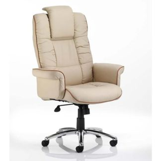 An Image of Chelsea Leather Executive Office Chair In Cream With Arms