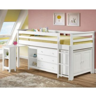 An Image of Pegasus Midi Sleeper Bed In White With Storage And Desk
