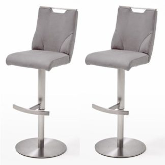An Image of Jiulia Ice Grey Leather Bar Stool In Pair With Steel Base