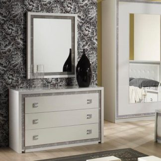 An Image of Crystal Wall Mirror In White Gloss With Rhinestones