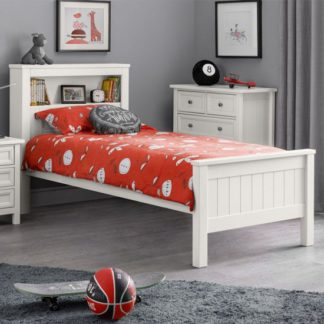 An Image of Maine Wooden Double Bed In Surf White With Bookcase
