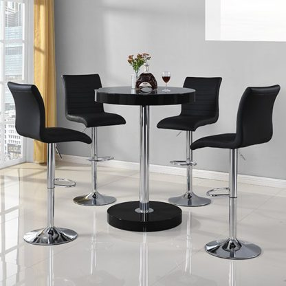 An Image of Havana Round Bar Table In Black With 4 Ripple Bar Stools