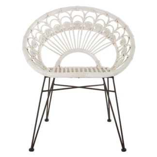 An Image of Hunor White Kubu Rattan Chair With Black Iron Legs