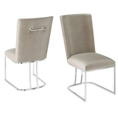 An Image of Ivana Mink Velvet Fabric Dining Chairs In Pair