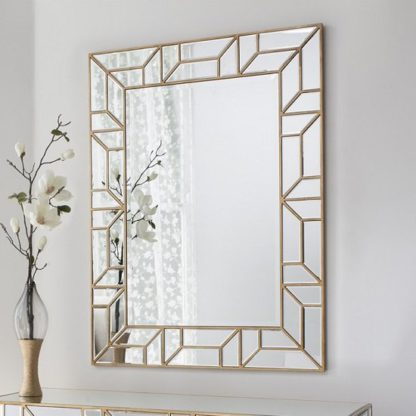 An Image of Dresden Decorative Wall Mirror Rectangular In Painted Gold