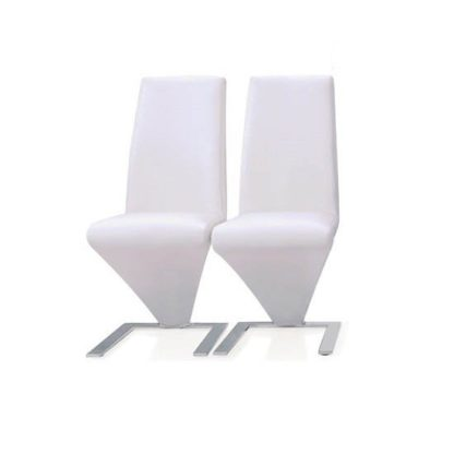 An Image of Demi Z Dining Chairs In White Faux Leather in A Pair