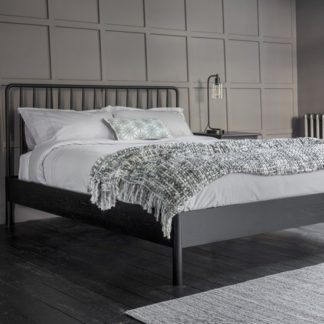 An Image of Wycombe Wooden Spindle King Size Bed In Black