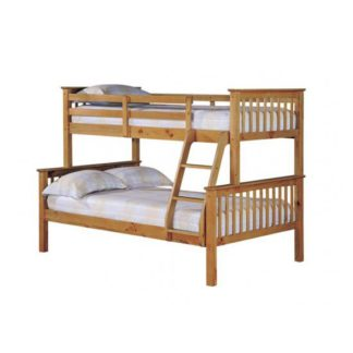 An Image of Trios Antique Wax Pine Finish Triple Sleeper Bunk Bed