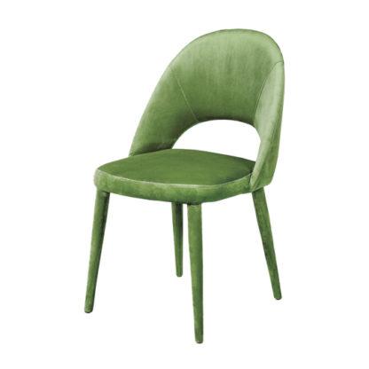 An Image of Sancerre Velvet Dining Chair In Light Green