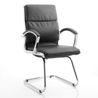 An Image of Classic Leather Office Visitor Chair In Black With Arms