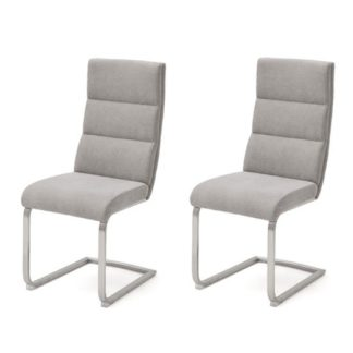 An Image of Hiulia Ice Grey Fabric Cantilever Dining Chair In A Pair
