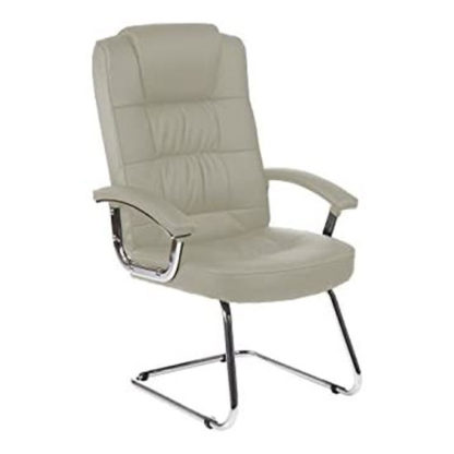 An Image of Moore Leather Deluxe Visitor Chair In White With Arms