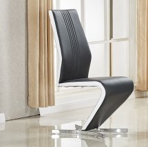 An Image of Gia Dining Chair In Black White Faux Leather With Chrome Base