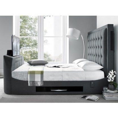 An Image of Clause Modern Fabric Super King Size TV Bed In Dark Grey