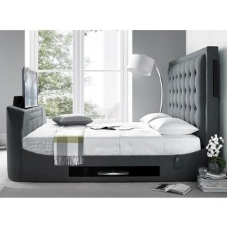 An Image of Clause Modern Fabric King Size TV Bed In Dark Grey