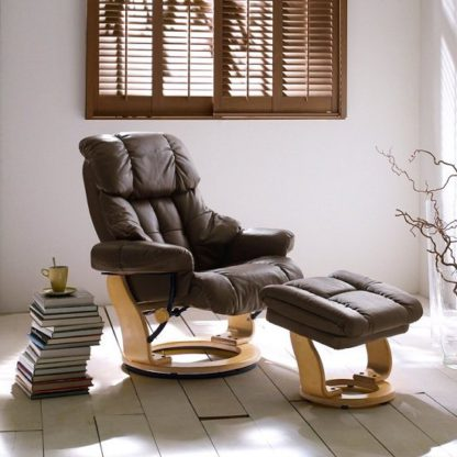 An Image of Calgary Relaxing Chair In Brown Leather And Oak With Foot Stool