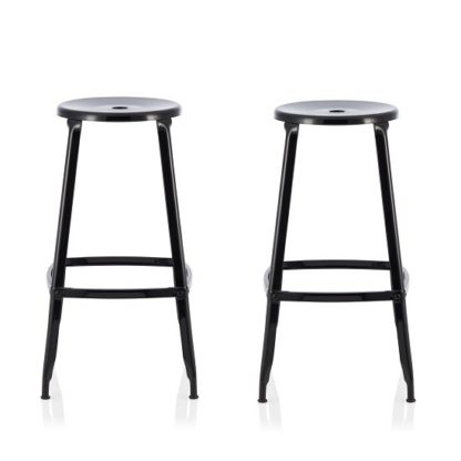An Image of Bryson 66cm Metal Bar Stools In Black In A Pair