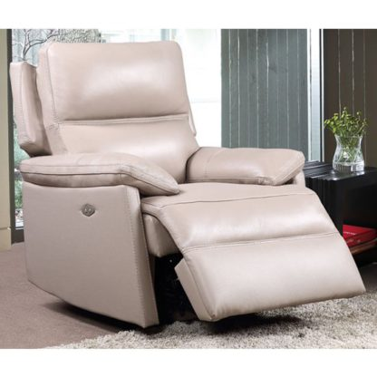 An Image of Bailey Faux Leather Recliner Armchair In Taupe