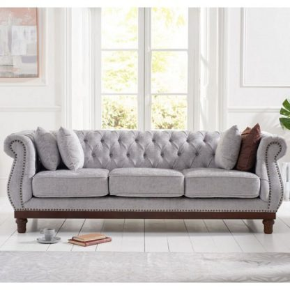 An Image of Ruskin 3 Seater Sofa In Grey Plush With Dark Ash Legs