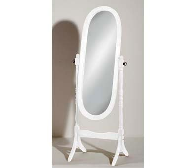 An Image of Oval Wooden Cheval Floor Standing Mirror In White