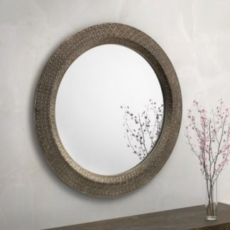 An Image of Cadence Large Round Ornate Wall Mirror In Pewter