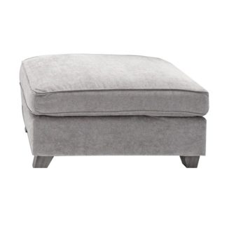 An Image of Barresi Chenille Fabric Ottoman In Silver With Wooden Legs