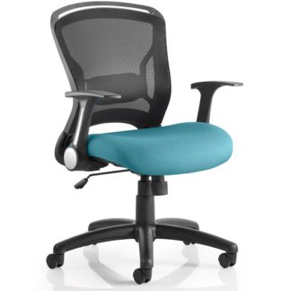 An Image of Mendes Contemporary Office Chair In Kingfisher With Castors
