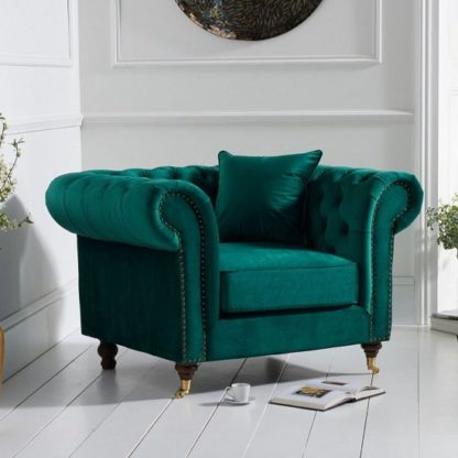 An Image of Holbrook Chesterfield Sofa Chair In Green Velvet