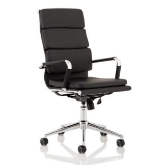 An Image of Hawkes Leather Executive Office Chair In Black With Chrome Frame