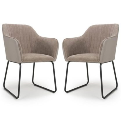 An Image of Celeste Beige Chenille And Leather Effect Dining Chair In A Pair