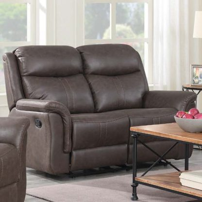 An Image of Proxima Fabric 2 Seater Sofa In Rustic Brown