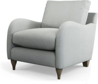 An Image of Custom MADE Sofia Armchair, Athena Dove Grey with Light Wood Leg