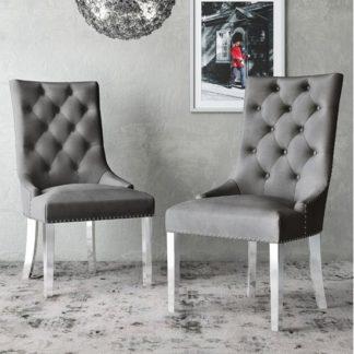 An Image of Donatello Dark Grey Velvet Fabric Dining Chairs In Pair