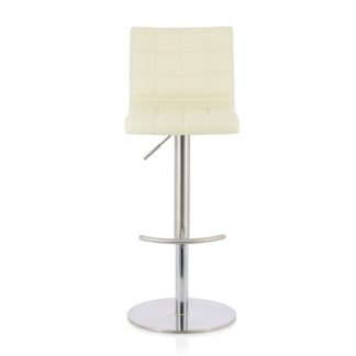 An Image of Jorden Bar Stool In Cream Faux Leather And Stainless Steel Base