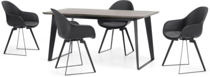 An Image of Boone Up to 4 Seat Dining Table and 4 Chair set, Concrete Resin Top