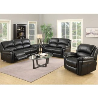 An Image of Lerna Leather 3 Seater Sofa And 2 Seater Sofa Suite In Black