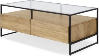 An Image of Kilby Storage Coffee Table, Light Mango Wood and Glass