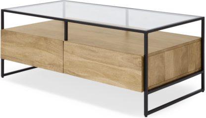 An Image of Kilby Storage Coffee Table, Light Mango Wood and Glass