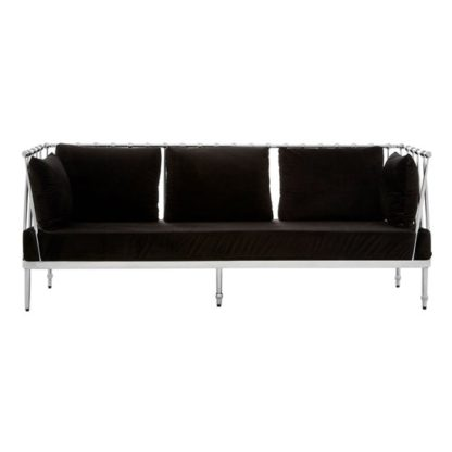 An Image of Kurhah 3 Seater Sofa In Black With Silver Finish Tapered Arms
