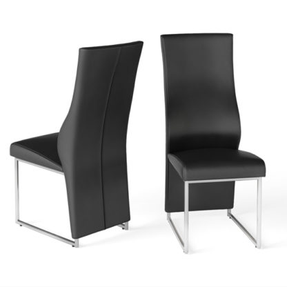 An Image of Remo Black Faux Leather Dining Chairs In Pair