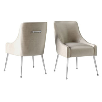 An Image of Claudia Mink Velvet Fabric Dining Chairs In Pair
